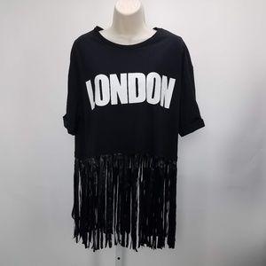 Zara Fringe Graphic Shirt Boho Sz L Blk B9